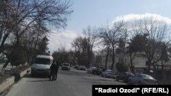 Место взрыва в городе Курган-Тюбе