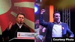 Претседателите на СДСМ и на ВМРО-ДПМНЕ, Зоран Заев и Никола Груевски за време на митинзи за локалните избори.