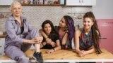 Yuma (left), Alina (second from right) with her girlfriend Ksyusha, and Mila (far right)