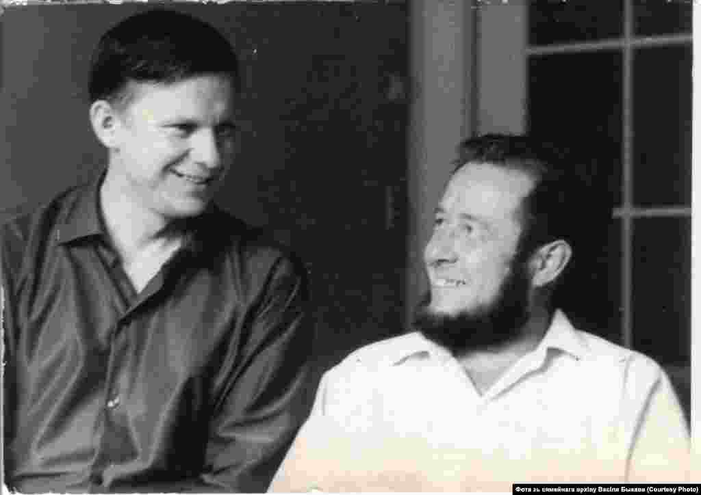 Solzhenitsyn became a celebrity in the Soviet Union, pictured here with the Belarusian writer Vasil Bykau in 1967. After the hard-line Leonid Brezhnev replaced Khrushchev in 1964, Solzhenitsyn received greater scrutiny from the KGB. But internationally his reputation soared and, in 1970, he was awarded the Nobel Prize for Literature.