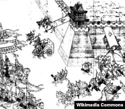 Нурхачи Түндүк-Чыгыш Кытайдагы Ниңйуан салгылашуусу маалында. 1626-жылдын февралы. Чийме сүрөт.