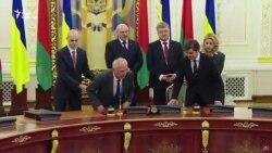 Оголені груди на зустрічі Порошенка та Лукашенка (відео)