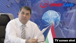 Orienbank head Hasan Sadulloev in a TV screen shot