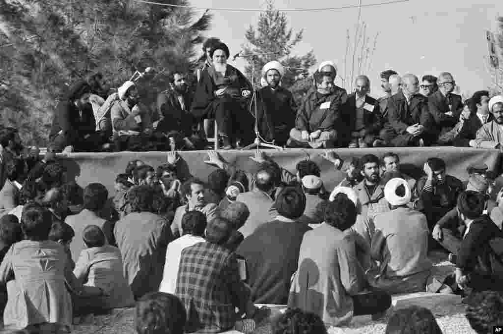 Khomeini gives his speech at the Behesht-e Zahra cemetery after his return from exile.