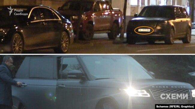 З-поміж припаркованих автівок «Схеми» звернули увагу на Range Rover, яким користується «слуга народу» Юрій Арістов