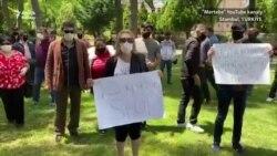 Türkmenler Stambuldaky türkmen konsullygynyň öňünde protest geçirdiler