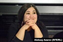 Сценарист и один из режиссеров фильма «Я люблю тебя, Акерке» Назия Назарбек. В жизни она была подругой Акерке и сыграла подругу в фильме. Алматы, 30 января 2017 года.
