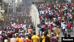 Pamje nga protestat në Haiti.