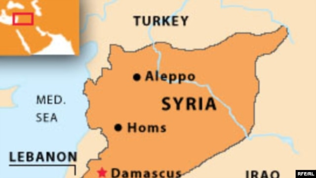 Syria -- English map with towns