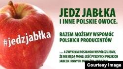Інтернет-постер на підтримку акції «Їж яблука на зло Путіну» у Польщі
