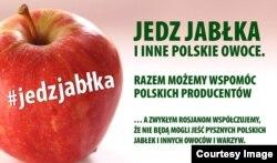 «Їж яблука та інші польські овочі. Разом можемо допомогти польському виробникові», – закликає соціальна реклама