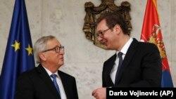 Претседателот на Европската комисија Жан Клод Јункер и српскиот претседател Алаксандар Вучиќ, Белград, 26.02.2018.