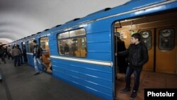 Armenia - A commuter train at a metro station in Yerevan, 4Dec2012.