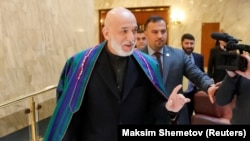 Former Afghan President Hamid Karzai in Moscow on February 5