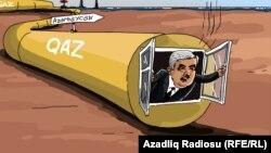 """""""Qaz problemi"""". Karikatura. Gündüz Ağayev."""