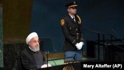 Выступление президента Ирана Хасана Роухани в ООН. Нью-Йорк, 25 сентября 2018 года.