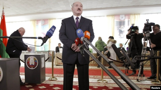 Belarusian President Alyaksandr Lukashenka at a favorite haunt: in front of a microphone.