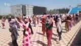 marching of students in Tajikistan