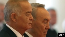 Islam Karimov (left) with Nursultan Nazarbaev at an official welcome ceremony in Astana in September, 2012.