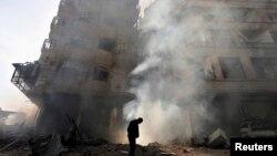Սիրիա - Դամասկոսի արվարձաններից մեկում` օդուժի ռմբակոծությունից հետո, հունվար, 2013թ.