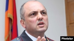Armenia -- Nerses Nazarian, chief of Yerevan's police department, at a news conference, 25Mar2011.