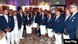 İlham Əliyev London Olimpiya Oyunlarının iştirakçıları ilə birlikdə - 2012