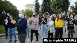 Минчане протестуют против отказа властей зарегистрировать альтернативных кандидатов в президенты, Минск, 14 июля 2020