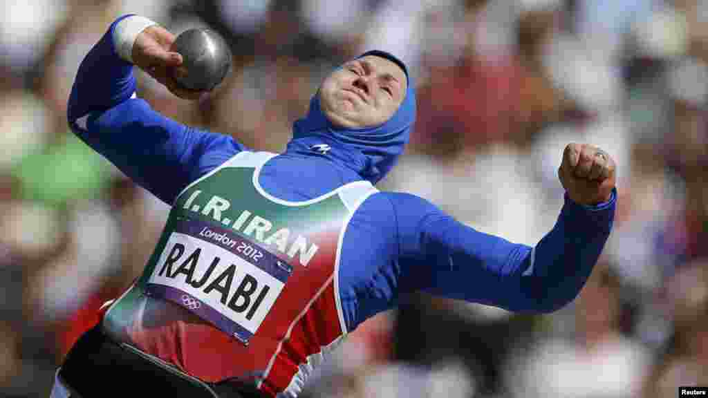 Iran's Leyla Rajabi competes in the women's shot put qualification at London's Olympic Stadium. (Reuters/Phil Noble)
