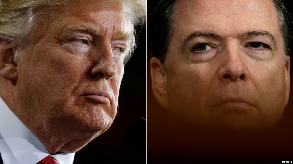 A combo photo shows U.S. President Donald Trump (left) and former FBI Director James Comey