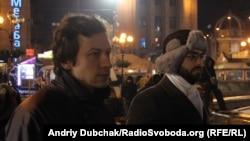 Demonstranți pro-europeni la Kiev, la 24 decembrie 2013, la prezentarea filmului despre Rusia realizat de ziaristul american