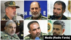 Special Unit commanders, (L to R upper row) Gholam Reza Ashrafi, Hassan Karami, Jan Nesari, (L to R lower row)Saeed Motaharizadeh, Reza Musaviand, Ali Azimi.