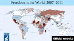 Freedom House-тың 2007-2011 жылдардағы әлем елдеріндегі еркіндік деңгейіне арналған картасы.