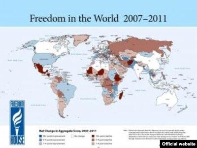 Freedom House mapa o ljudskim slobodama u svijetu 2007-2011