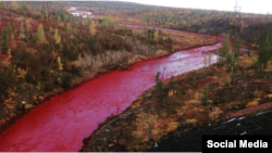 Річка Далдикан поблизу Норильска після потрапляння шкідливих відходів