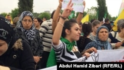 مسيرة في اربيل تضامنا مع المقاتلين ضد داعش في كوباني