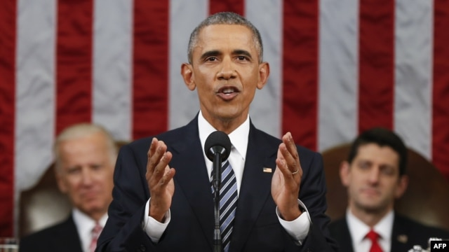 U.S. President Barack Obama delivers his final State of the Union address to a joint session of Congress in Washington on January 12.