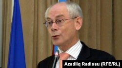 President of the European Council Herman Van Rompuy during a press conference in the Azerbaijani capital, Baku, on July 5
