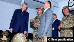 Armenia - CSTO Secretary General Nikolay Bordyuzha (L) visits an Armenian army unit deployed on the border with Azerbaijan, 07Oct2014.