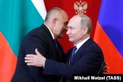 Премьер-министр Болгарии Бойко Борисов и президент России Владимир Путин на переговорах в Москве 30 мая 2018 года