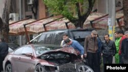 Armenia -- A car crashed in an accident in Yerevan.