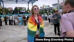 Диана Берг в центре Мариуполя, 12 июня 2016 года