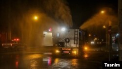 Streets of Ahwaz in southwest Iran being sprayed as a preventative measure against coronavirus. February 28, 2020