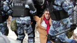 Задержание на акции в поддержку Алексея Навального 31 января 2021 года в Москве