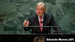 آنتونیو گوترش حین سخنرانی در نشست مجمع عمومی سازمان ملل متحد در نیویارک
