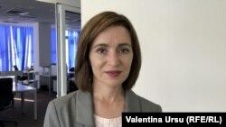 Maia Sandu, candidata PAS la alegerile prezidențiale în studioul Europei Libere, Chișinău, 14 octombrie 2020.