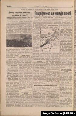 """Dnevne novine """"Politika"""" ovako su pisale o černobiljskoj katastrofi 1986. godine"""