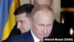 Владимир Путин и Владимир Зеленский на саммите в Париже. Франция, 9 декабря 2019 года.