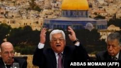 Președintele Mahmud Abbas (la reuniunea palestiniană de la Ramallah
