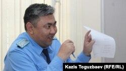 Прокурор Даурен Булгимбаев, поддерживающий государственное обвинение по делу «джихадистов». Алматы, 4 октября 2018 года.