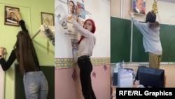 Скриншоты постов в TikTok, на которых российские школьники меняют портреты Путина на фотографии Навального